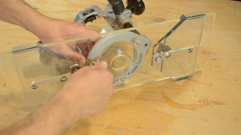 Attaching the router to set up the Eagle America Arched Fluting Jig and make curved moldings.