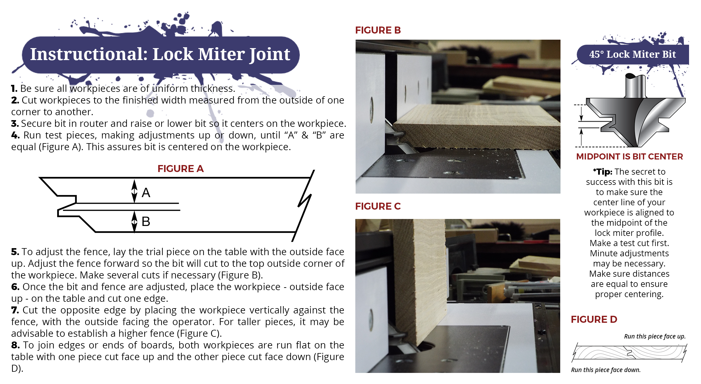 Instructional image from Eagle America about making a lock miter joint.