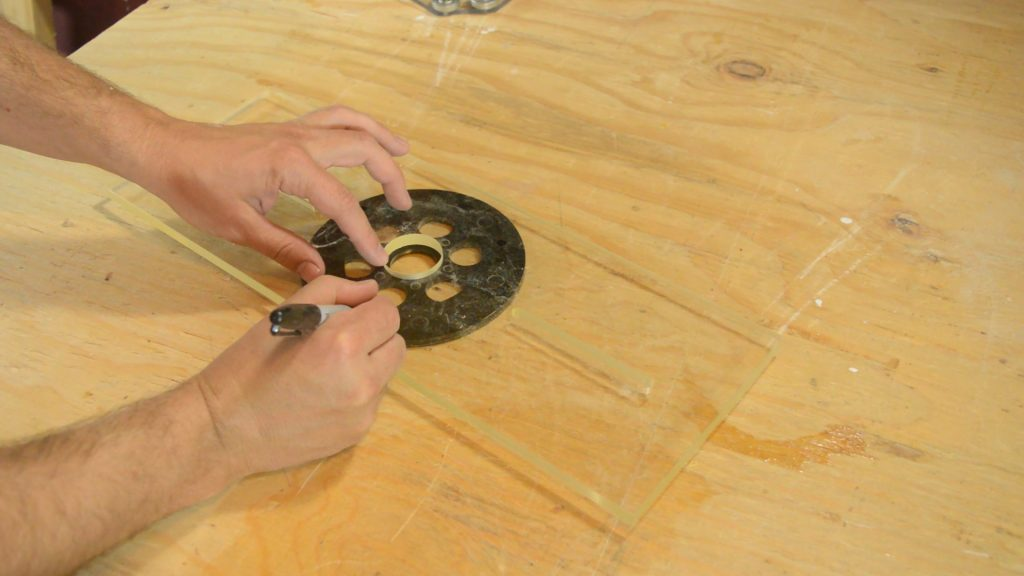 Marking holes to set up the Eagle America Arched Fluting Jig and make curved moldings.